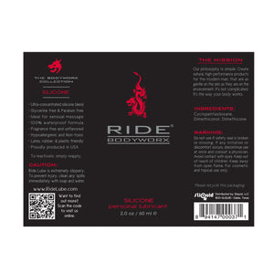 Sliquid Ride Bodyworx Silicone Lube 2 FL OZ 60 ML (Newly Replenished on Jan 19) Lubes & Cleaners - Silicone Based Sliquid