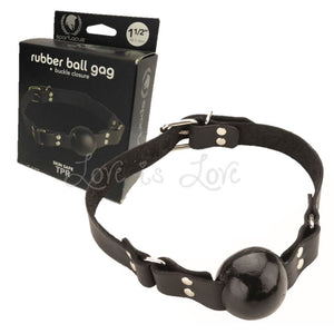 Spartacus Ball Gag Oiltan Leather With Buckle Closure 1.5 Inch Black Bondage - Spartacus Bondage Gear Spartacus