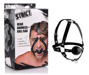 STRICT Head Harness with Ball Gag Bondage - Ball & Bit Gags STRICT