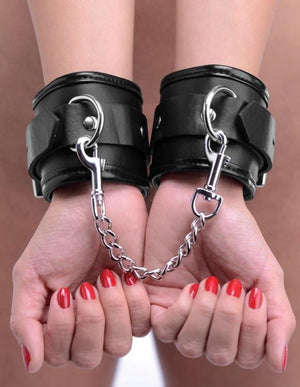 STRICT Locking Padded Wrist Cuffs with Chain Bondage - Ankle & Wrist Restraints STRICT