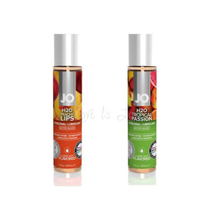 System JO H2O Flavored Lubricant Peachy Lips or Tropical Passion 30 ML 1 FL OZ Lubes & Toy Cleaners - Flavoured Lubes System JO