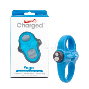The Screaming O Charged Yoga Rechargeable Reversible Cock Ring Blue Cock Rings - Rechargeable Cock Rings The Screaming O