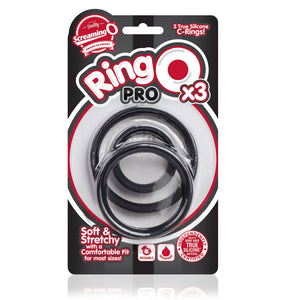 The Screaming O RingO Pro X3 Black Set of 3 Sizes (L, XL and XXL) Cock Rings - Cock Ring Sets The Screaming O