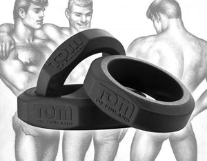 Tom Of Finland 3 Piece Silicone Cock Ring Set Blue Or Black ( Retail Popular Thick Cock Ring Set) For Him - Cock Ring Sets Tom Of Finland Black