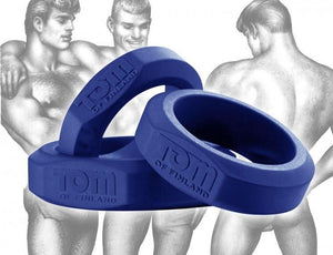 Tom Of Finland 3 Piece Silicone Cock Ring Set Blue Or Black ( Retail Popular Thick Cock Ring Set) For Him - Cock Ring Sets Tom Of Finland Blue