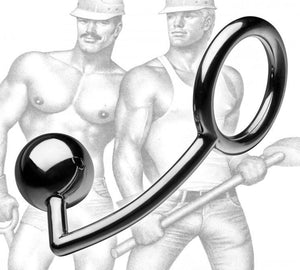 Tom of Finland Stainless Steel Cock Ring with Anal Ball Cock Rings - Cock Ring & Anal Plug Tom Of Finland