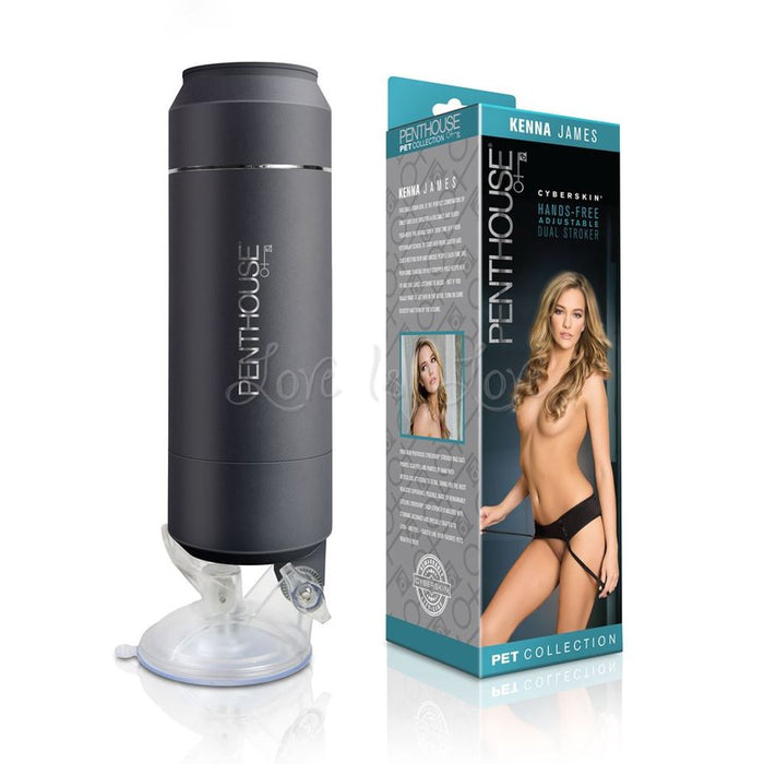 Topco Penthouse CyberSkin Hands-Free Adjustable Dual Stroker Kenna James