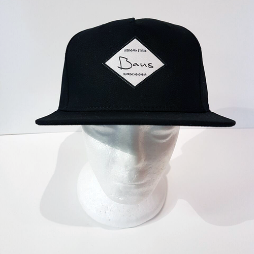 Baus Headwear - 5 Panel Junior Hardtop Snapback Black (Kids)