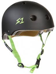 S-One - S1 Lifer Series Helmet Black Matte/Green Strap