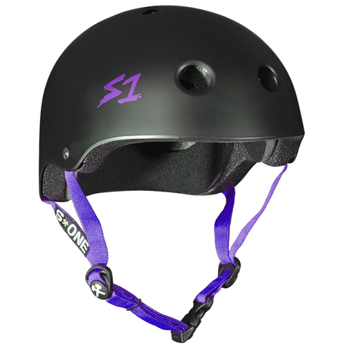 S-One - S1 Lifer Series Helmet Black Matte/Purple Strap