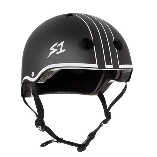 S-One - S1 Lifer Series Helmet Black Matte With White Outline Gavo Collab