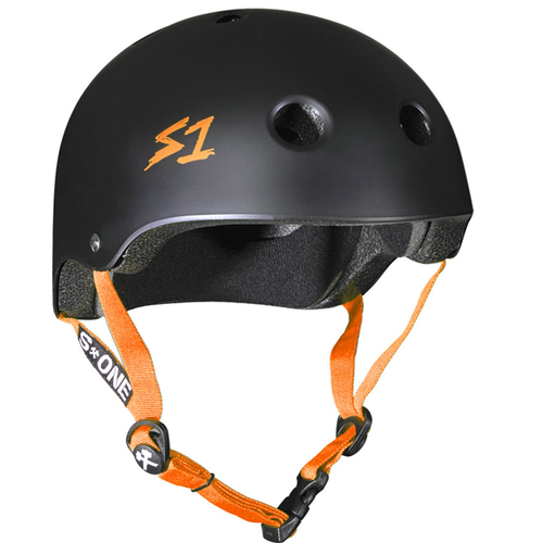 S-One - S1 Lifer Series Helmet Black Matte/Orange Strap