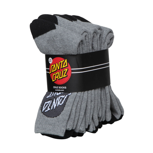 Santa Cruz - Mens Crew Dot Grey Socks 4 Pack