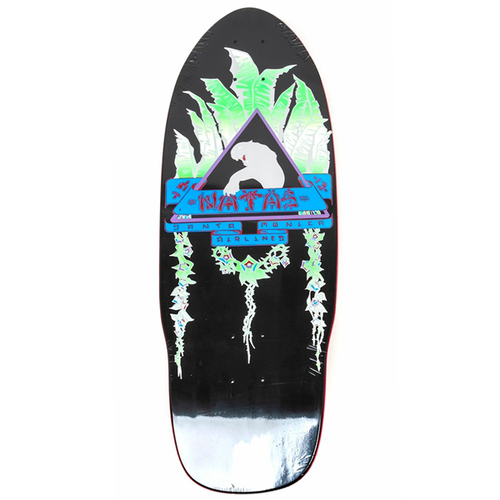 Santa Monica Airlines - Natas Leaves Silkscreened Deck Black Dip/Silver