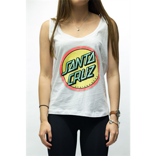 Santa Cruz - Retro Dot Drop Back Tank Top White