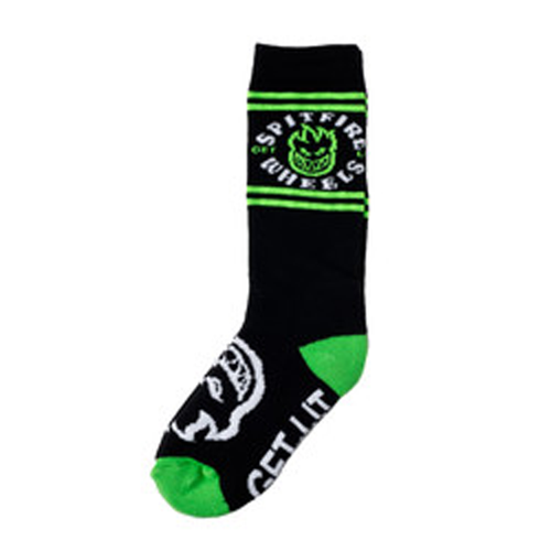 Spitfire -  Classic Big Head Black/Green/White Youth Socks