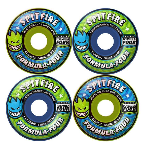 Spitfire - Formula Four Classic Blue/Green Mash 54mm 99 Duro