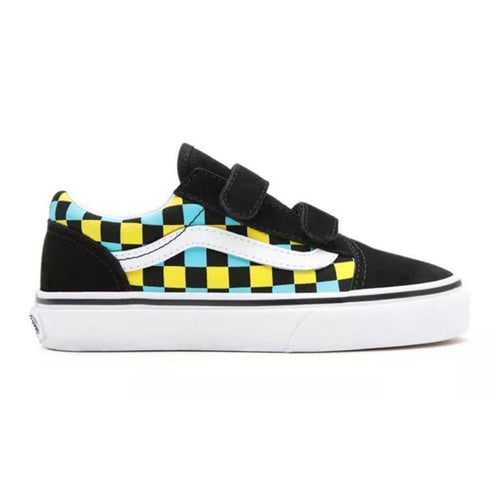 Vans - Kids Old Skool V Neon Glow Checkers Shoes