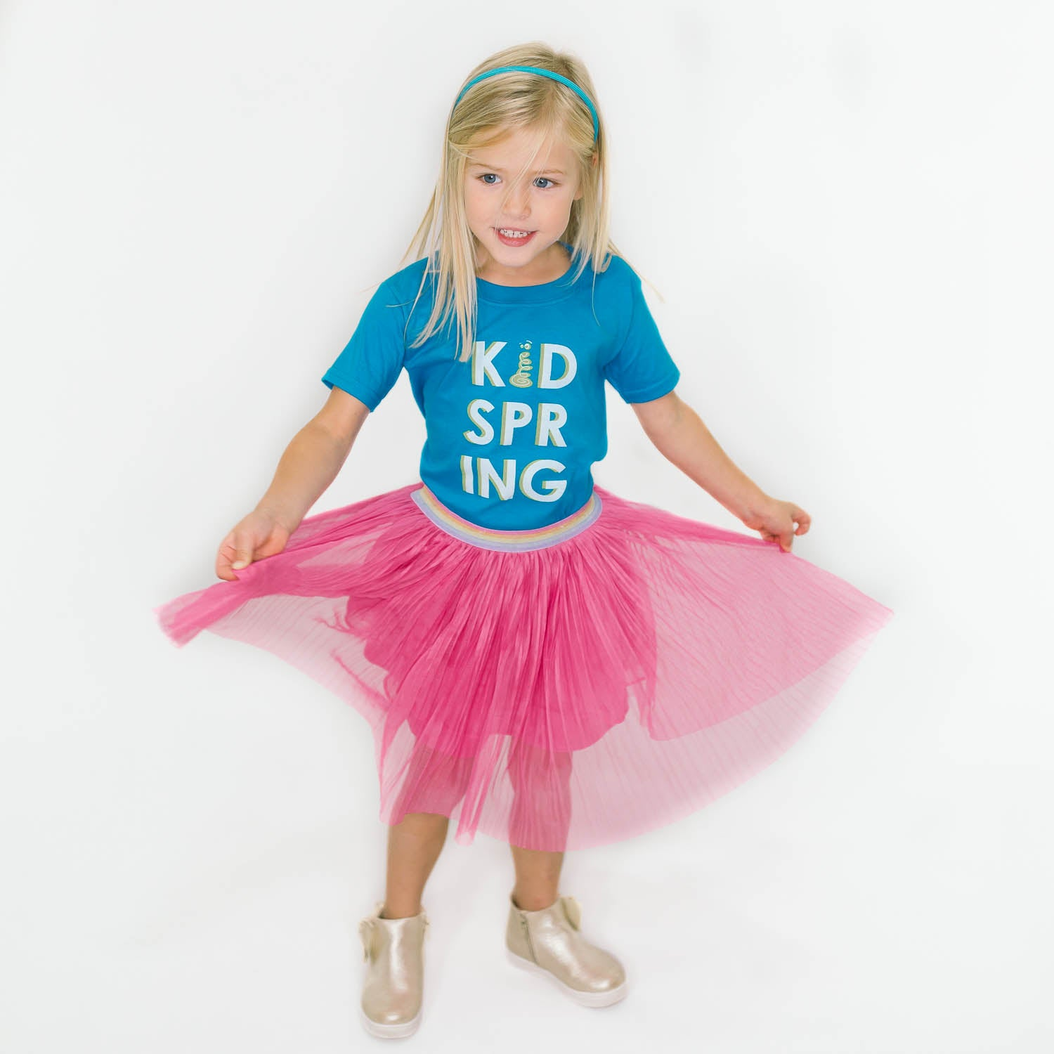 Blue Stacked KidSpring Tee