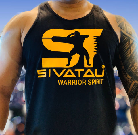 SIVATAU Yellow on black tank top