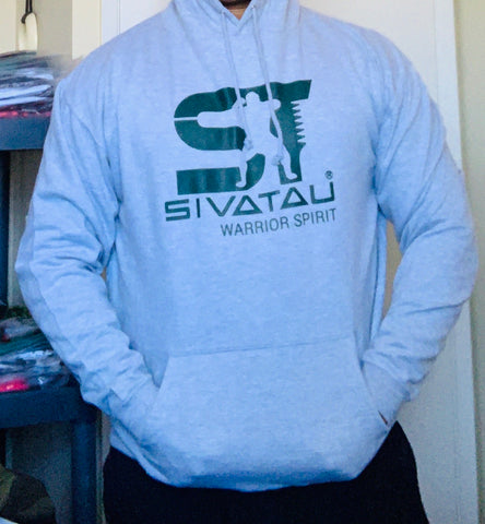 SIVATAU Grey hoodie with solid green logo.