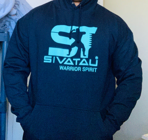SIVATAU Hoodie Navy with Tahiti blue colour logo.
