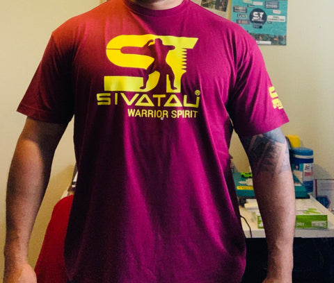 Maroon with yellow Sivatau logo.