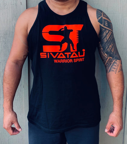 Sivatau Bright red on black tank top