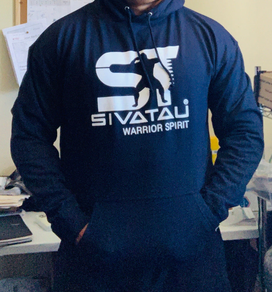SIVATAU HOODIE Navy blue with white logo.