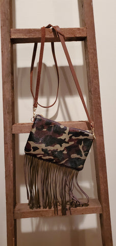 Leather Camo Clutch with Fringe