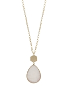 Cream Natural Stone Teardrop Necklace