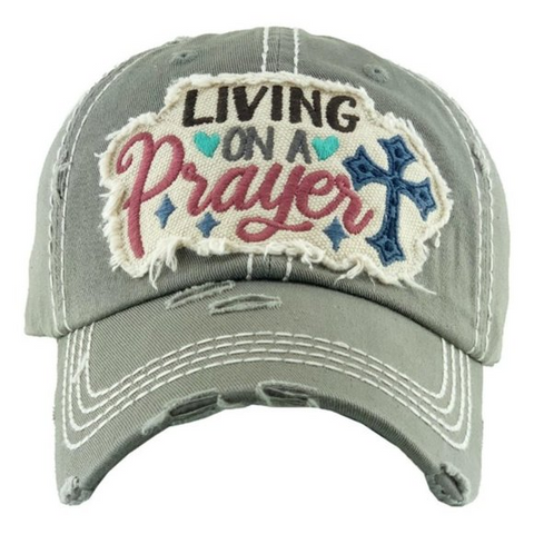 """Living on a Prayer"" Grey Vintage Cap"