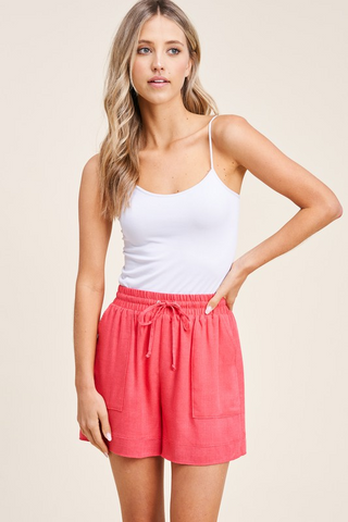 Red Drawstring Elastic Waist Fully Lined Shorts with Pockets