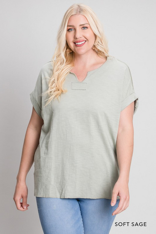 Washed Cotton Drop Shoulder Top with Patched Detailed Top