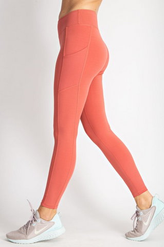 Coral Butter Leggings with Side Pockets