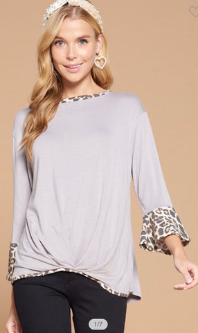 Bell Sleeve Animal Print Contrast Top