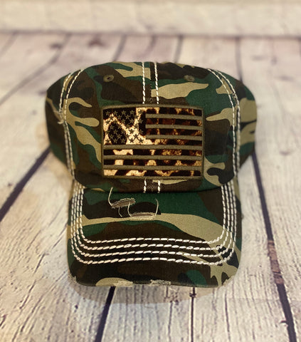 Camo Ball Cap with Leopard Print American Flag