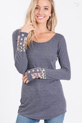 CONTRAST BUTTON CUFF DETAIL THERMAL TUNIC TOP