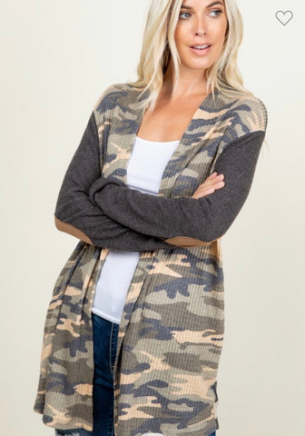 Camo & stripe cardigan with brown elbow patch