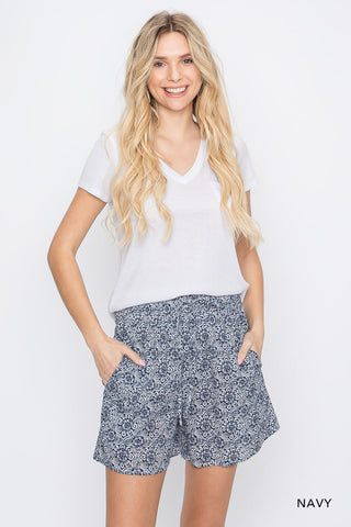 Navy Cotton Boho Casual Shorts with Smocked Waist