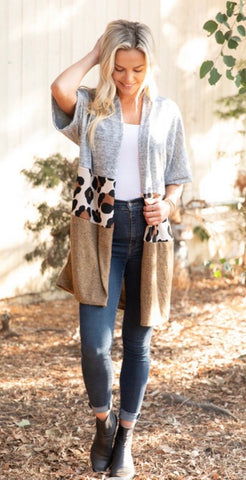 KNIT ANIMAL COLOR BLOCK LONG CARDIGAN