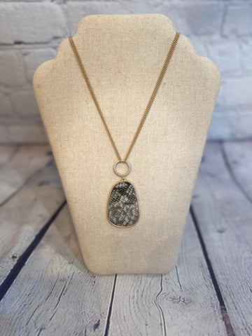 Grey Snake Print Teardrop Necklace
