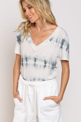 Ivory and Indigo Dye Knit Top