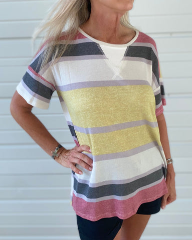 Color Block Stripe Short Sleeve T-shirt