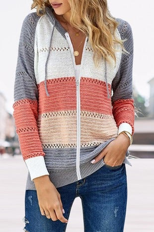 Zipped Front Color Block Sweater