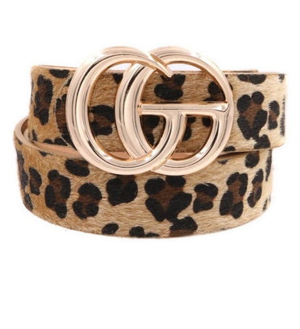 Natural Leopard Fur Belt