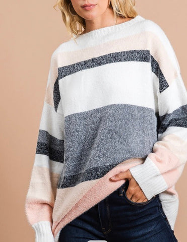 Multi Stripe Sweater with Bubble Sleeves