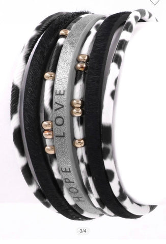 "Black Faux leather ""Faith Hope Love"" Bracelet"