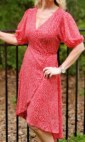 Red Floral Drap Maxi Dress