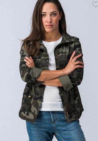 CAMO ZIP UP BUTTON DOWN LONG SLEEVE JACKET WITH POCKETS